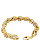 14K Gold Mens Iced Out Solid Rope Bracelet