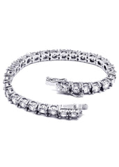 14K White Gold Mens Tennis Bracelet