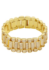 14K Gold Mens Iced Out Presidential Band Bracelet