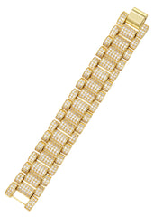 Mens Iced Out Presidential Band Bracelet 14K Gold