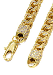 14K Gold Mens Chain Iced Out Solid Franco