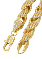 14K Gold Mens Chain Iced Out Solid Rope