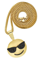 Mens Gold Franco Chain & Emoji Pendant | Appx. 15.6 Grams