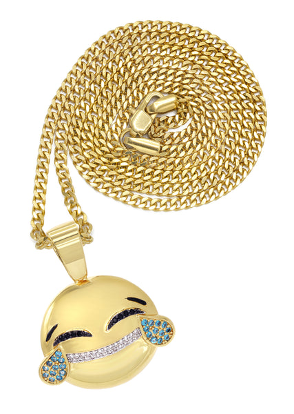 Mens Gold Cuban Link Chain & Emoji Pendant | Appx. 16.3 Grams
