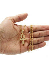 Mens Gold Rope Chain & Cross Pendant | Appx. 13.4 Grams
