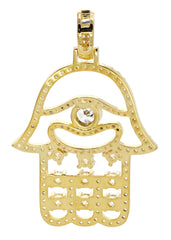 Mens Gold Hamsa Hand Pendant | 6.7 Grams