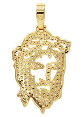 Mens Gold Jesus Head Pendant | 6.6 Grams