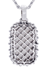 White Gold Cuban Link Chain & Dog Tag Pendant | Appx. 40.2 Grams