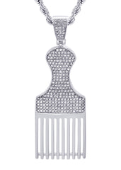 White Gold Cuban Link Chain & Comb Pendant | Appx. 18 Grams