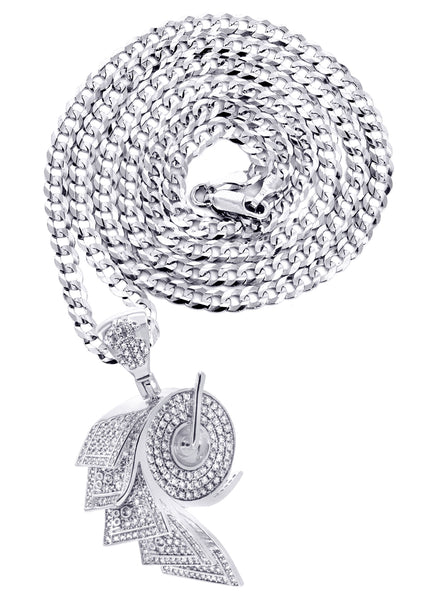 White Gold Cuban Link Chain & Money Roll Pendant | Appx. 18 Grams
