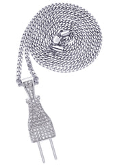 White Gold Cuban Link Chain & Plug Pendant | Appx. 22.7 Grams