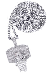 White Gold Cuban Link Chain & Basketball Pendant | Appx. 27.3 Grams