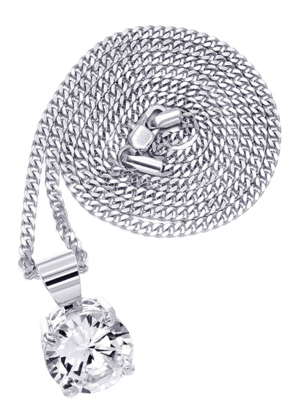 White Gold Cuban Link Chain & Cubic Zirconia Pendant | Appx. 16.3 Grams