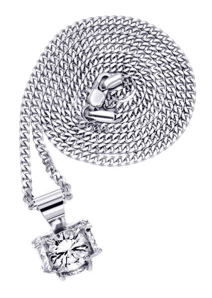 White Gold Cuban Link Chain & Cubic Zirconia Pendant | Appx. 19 Grams