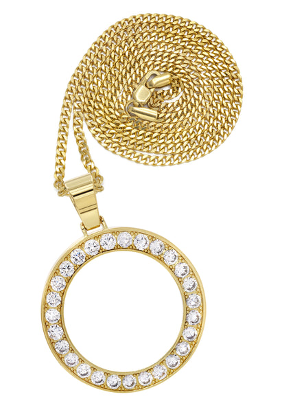 Mens Gold Cuban Link Chain & Circle Pendant | Appx. 25 Grams