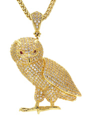 Mens Gold Franco Chain & Owl Pendant | Appx. 24.8 Grams