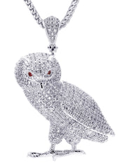 White Gold Cuban Link Chain & Owl Pendant | Appx. 24.8 Grams