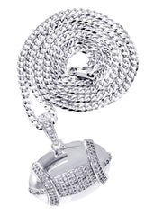 White Gold Cuban Link Chain & Football Pendant | Appx. 15.3 Grams