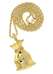 Mens Gold Rope Chain & Money Bag Pendant | Appx. 19.9 Grams