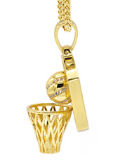 Mens Gold Franco Chain & Basketball Pendant | Appx. 30.3 Grams