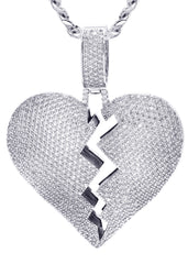 White Gold Cuban Link Chain & Heart Pendant | Appx. 38.5 Grams