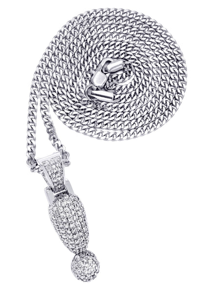White Gold Cuban Link Chain & ! Pendant | Appx. 13.1 Grams