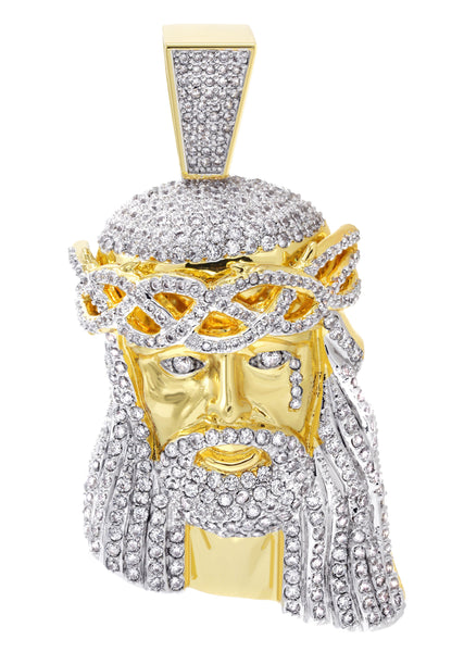 Mens Gold Jesus Head Pendant | 80.8 Grams