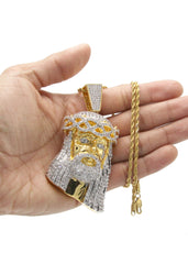 Mens Gold Rope Chain & Jesus Piece Chain | Appx. 88.8 Grams