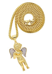 Mens Gold Franco Chain & Angel Pendant | Appx. 19.4 Grams