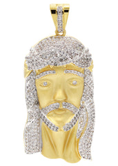 Mens Gold Jesus Head Pendant | 34.4 Grams