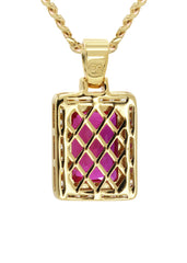 Mens Gold Cuban Link Chain & Ruby Pendant | Appx. 14 Grams