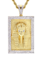 Mens Gold Rope Chain & Pharaoh Pendant | Appx. 36.4 Grams