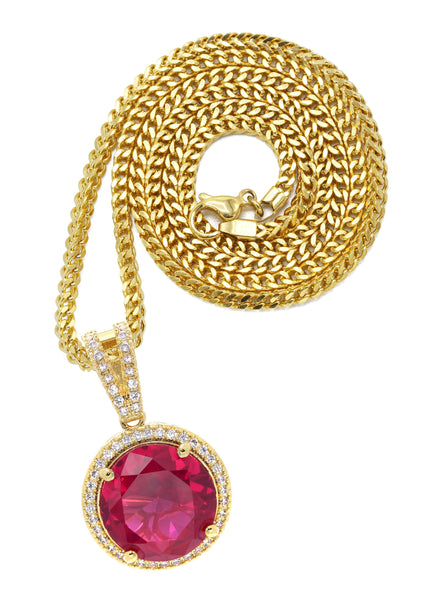 Mens Gold Franco Chain & Ruby Pendant | Appx. 15.4 Grams