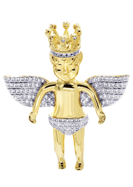 Mens Gold Angel Pendant | 8.3 Grams
