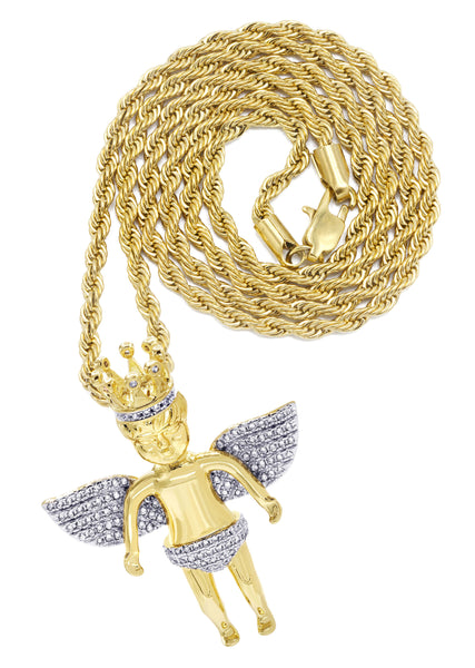 Mens Gold Rope Chain & Angel Pendant | Appx. 16.3 Grams