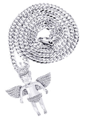 White Gold Cuban Link Chain & Angel Pendant | Appx. 16.3 Grams