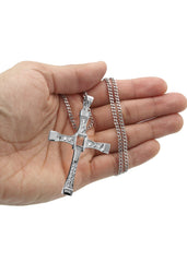 White Gold Cuban Link Chain & Cross Pendant | Appx. 26.7 Grams