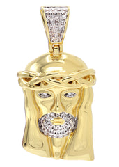 Mens Gold Jesus Head Pendant | 12.1 Grams