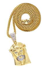 Mens Gold Franco Chain & Jesus Piece Chain | Appx. 20.1 Grams