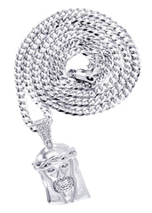 White Gold Cuban Link Chain & Jesus Head Pendant | Appx. 20.1 Grams