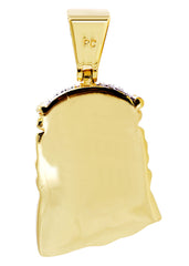 Mens Gold Jesus Head Pendant | 14.7 Grams