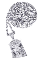 White Gold Cuban Link Chain & Jesus Head Pendant | Appx. 22.7 Grams
