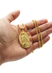 Mens Gold Franco Chain & Virgin Mary Pendant | Appx. 27 Grams