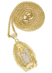 Mens Gold Cuban Link Chain & Virgin Mary Pendant | Appx. 24.8 Grams