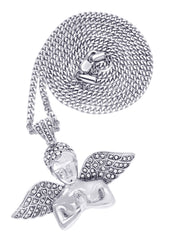 White Gold Cuban Link Chain & Angel Pendant | Appx. 19.4 Grams
