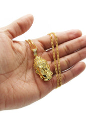 Mens Gold Cuban Link Chain & Buddha Pendant | Appx. 21.6 Grams