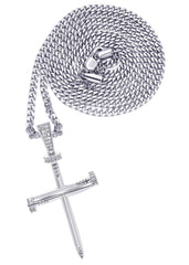 White Gold Cuban Link Chain & Cross Pendant | Appx. 14.5 Grams