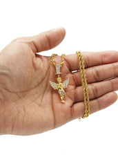Mens Gold Rope Chain & Angel Pendant | Appx. 14.2 Grams