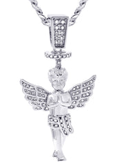 White Gold Cuban Link Chain & Angel Pendant | Appx. 14.2 Grams