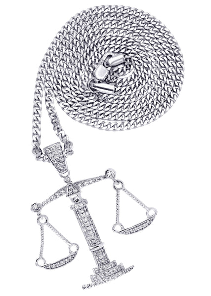 White Gold Cuban Link Chain & Scale of Justice Pendant | Appx. 10.2 Grams